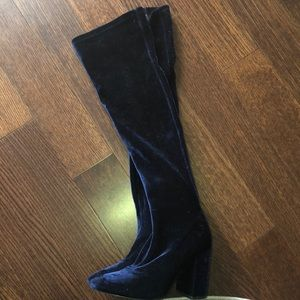Zara | Velvet Blue knee high boots